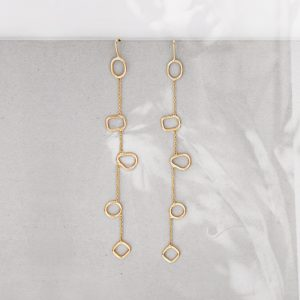 Yellow gold earrings with asymmetrical and different shaped elements _ maschio gioielli milano (3)