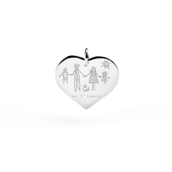 Ciondolo in argento a forma di cuore personalizzabile con iniziale, testo, simboli o disegno _ esempio di incisione _ maschio gioielli milano