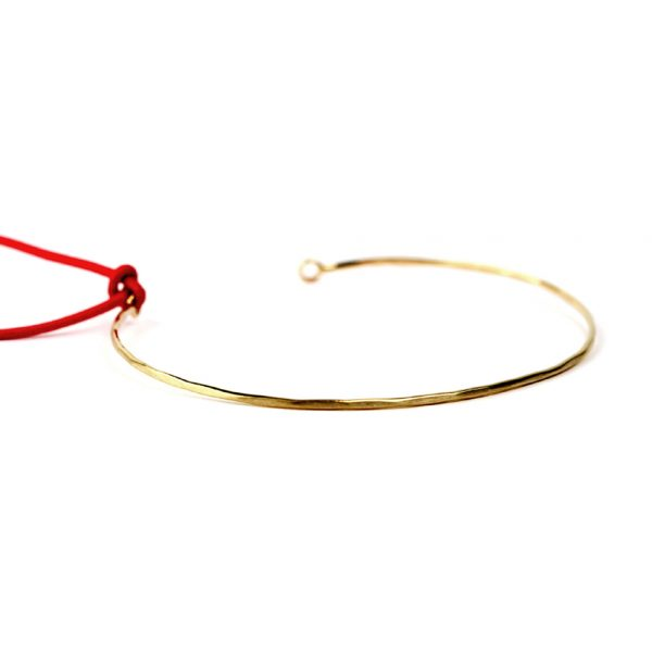 Hummered gold thin wire open bracelet _ maschio gioielli milano (2)