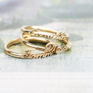 Anello in oro bianco, giallo o rosa personalizzato con nome _ maschio gioielli milano
