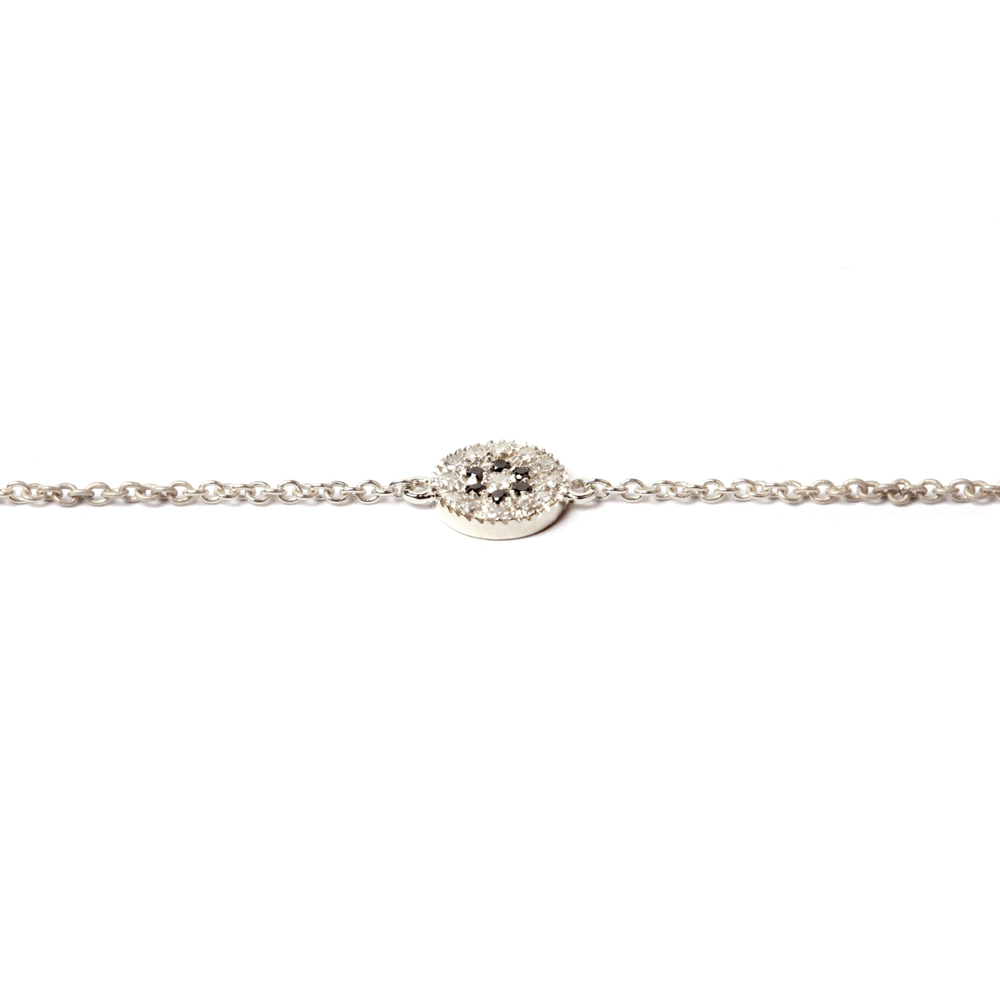 Thin Chain Bracelet With Round Element Pavè Set Concentric Rows Of Diamonds Maschio Gioielli
