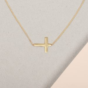 Yellow Gold Simple minimal short necklace with horizontal cross _ maschio gioielli milano