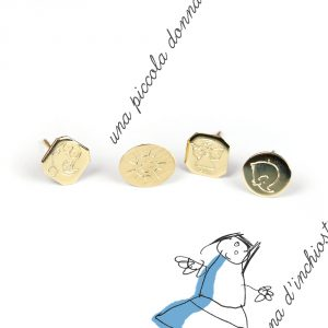 Yellow gold stud earrings to be customized with initials, drawings or symbols _ maschio gioielli milano