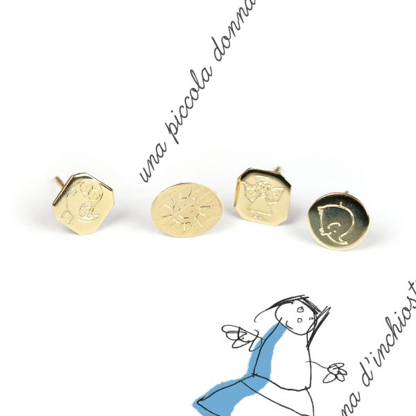 Yellow gold stud earrings to be customized with initials, drawings or symbols _ maschio gioielli milano (4)