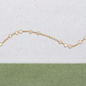 Yellow gold thin chain bracelet with little asymmetric squared gold beads _ maschio gioielli milano