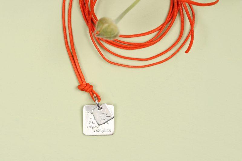 Square shaped double plates silver pendant for men and women _ maschio gioielli milano