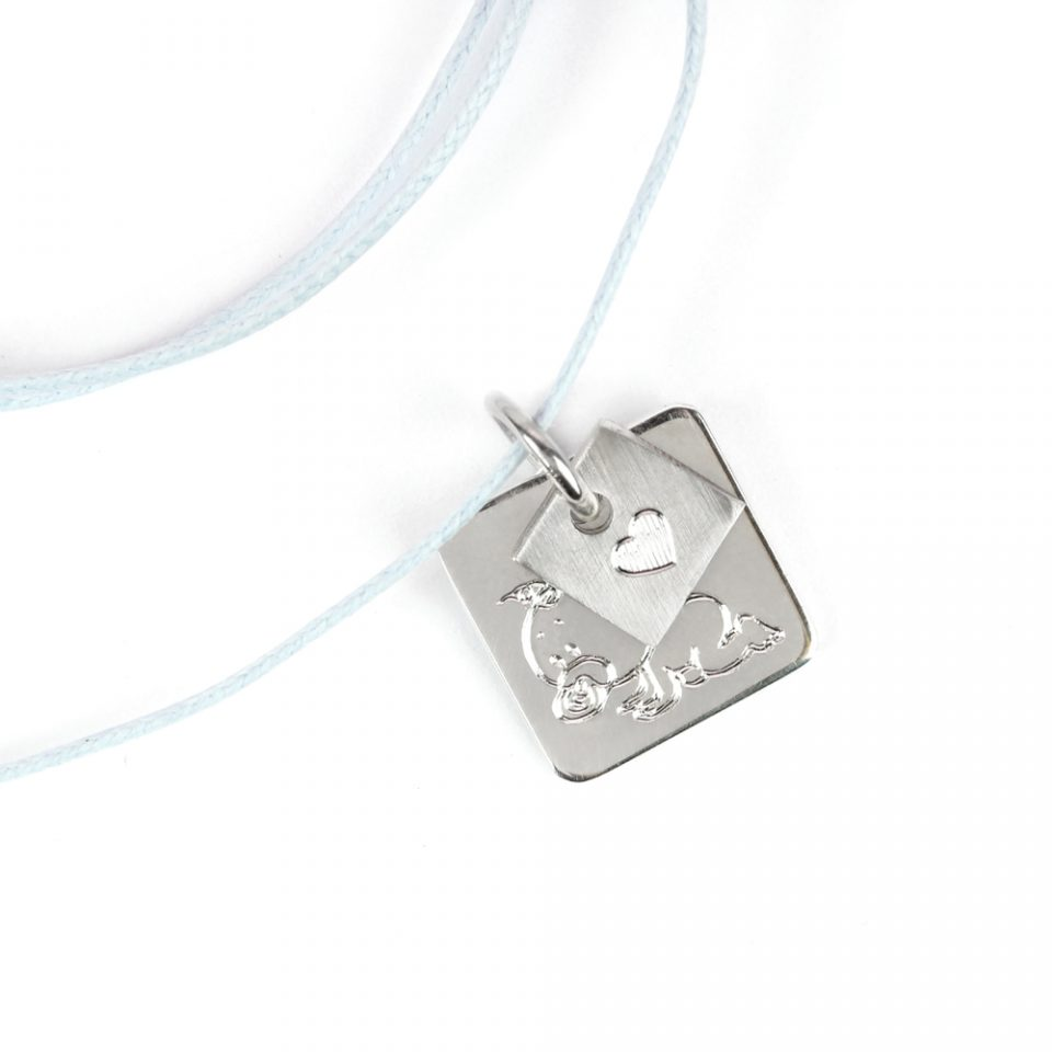 Puces. Squared Silver Pendant