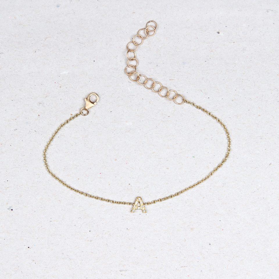 Thin tiny gold chain bracelet with diamond initial letter _ maschio gioielli milano
