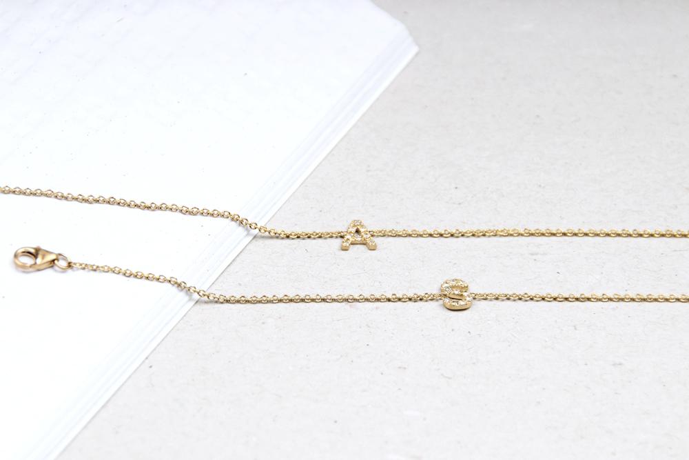 Thin tiny gold chain bracelets with diamond initials letters _ maschio gioielli milano