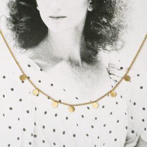 Collana minimal con catena in oro giallo e piccoli tondini saldati _ maschio gioielli milano