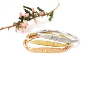 Three color of gold minimal stackable rings _ maschio gioielli milano