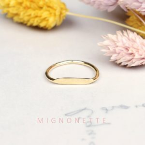 Minimalist flat top gold ring _ to be customized _ maschio gioielli milano