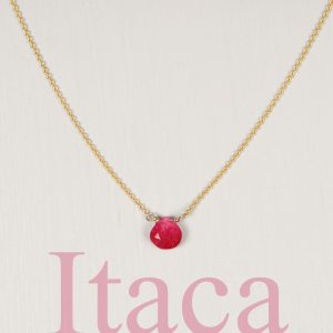 Yellow Gold Thin rolò chain short necklace with faceted drop of fuchsia quartz _ maschio gioielli milano