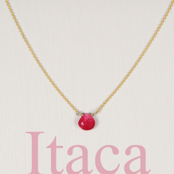 Yellow Gold Thin rolò chain short necklace with faceted drop of fuchsia quartz _ maschio gioielli milano (1)