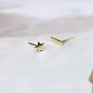 Yellow gold mini star + bar rectangle stud earrings _ maschio gioielli milano