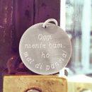 Ciondolo tondo in argento 925 personalizzato con iniziali, testo o disegno dei bambini _ maschio gioielli milano