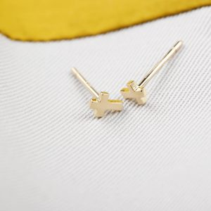 Gold little cross stud earrings (1)