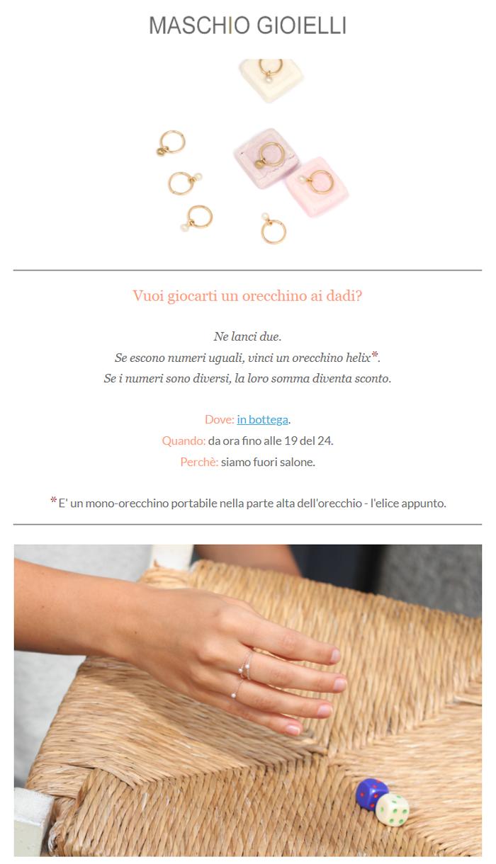 Newsletter Maschio Gioielli _ 18 aprile 2018 _ Dice Girl