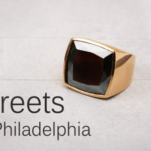 Polished bronze ring with haematite (2)