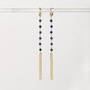 Yellow gold earrings with blue sodalite and gold bars _ maschio gioielli milano