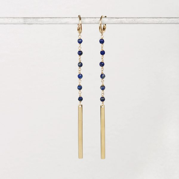 Yellow gold earrings with blue sodalite and gold bars _ maschio gioielli milano (2)