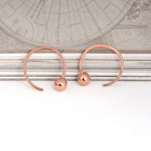 Earrings with gold boules _ Pink (2)