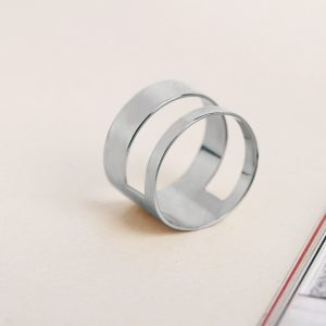 Massive silver geometric cut-out band ring _ maschio gioielli milano