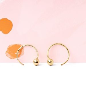 Minimalist tiny gold hoop earrings with gold beads _ maschio gioielli milano