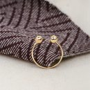Anello aperto minimal in oro con due palline _ maschio gioielli milano