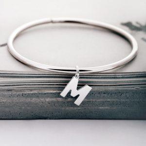 Silver Bangle Bracelet with initials _ maschio gioielli milano