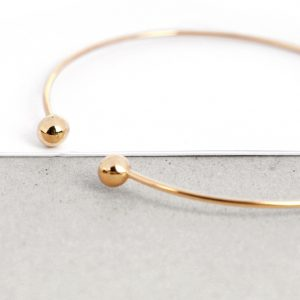 Gold bangle bracelet with two spheres  _maschiogioielli (5)