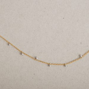 Gold chain with asymmetric silver boules (1)