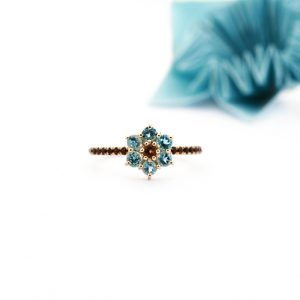 Light-blue and brown flower ring _ maschiogioielli (1)