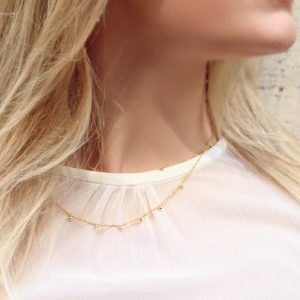 Short thin gold chain necklace with silver bubbles (4)