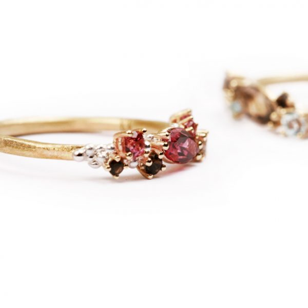 Silver and gold ring with pink tourmaline (2)