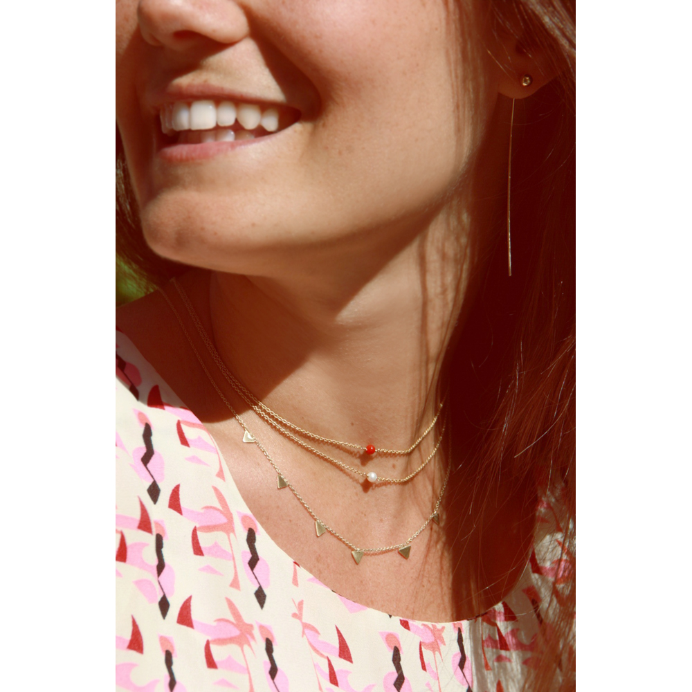 Minimal Solitaire Necklaces With Pearl Or Coral And Necklace With Triangles  _ Maschio Gioielli Milano (