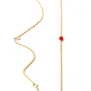 Thin yellow gold bracelet with little coral or pearl _ minimal solitaire bracelet _ maschio gioielli milano
