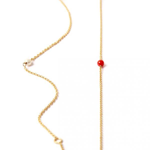 Bracciali minimal sottili in oro con pietra, corallo o perla centrale _ maschio gioielli milano