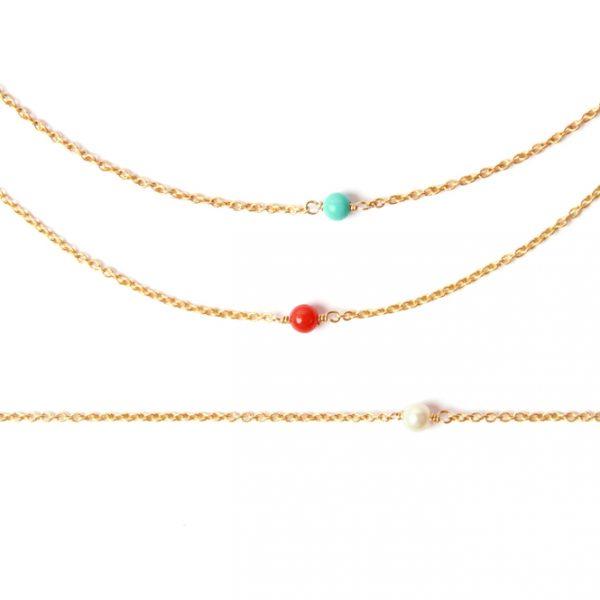 Collana minimal con catena sottile in oro e solitario _ perla, corallo o turchese _ maschio gioielli milano