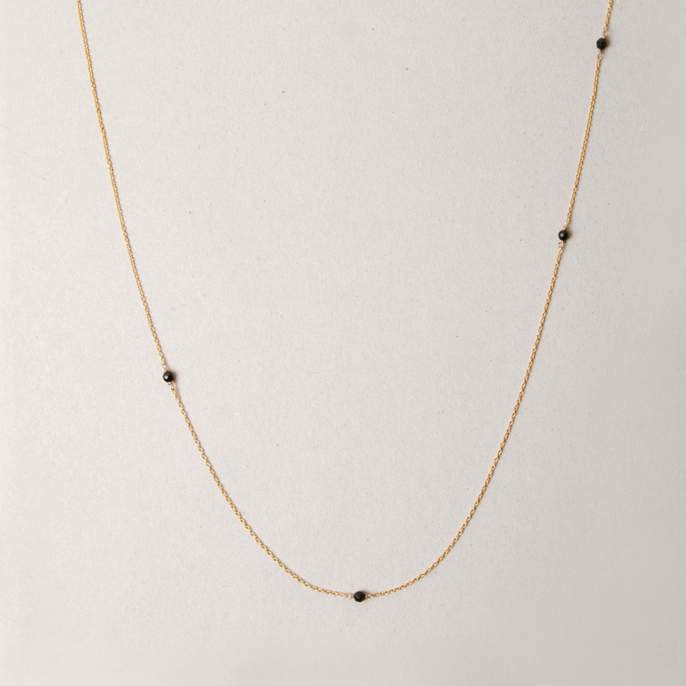 88d6017be Yellow gold long thin rolò chain necklace with little black faceted agate  stones   maschio gioielli