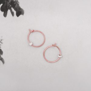Handmade Pink Gold small thin hoop earrings with 925 silver nuggets _ maschio gioielli milano