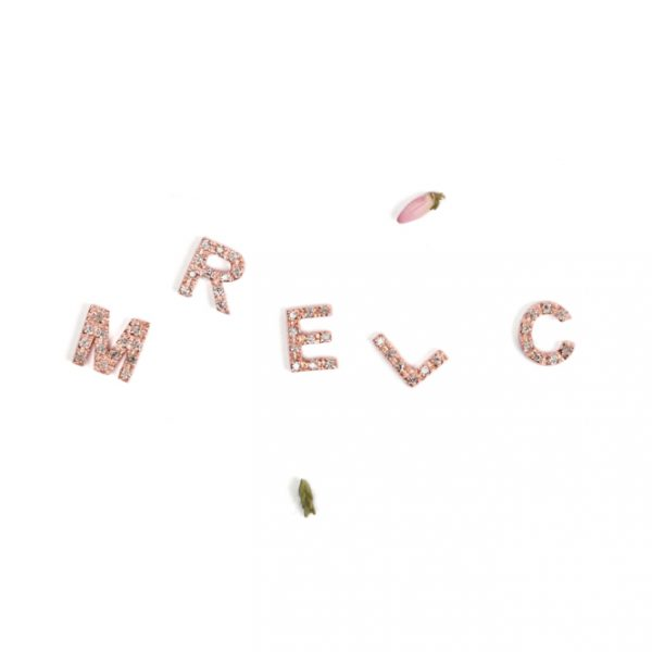 Pink Gold Letters with silver ice diamonds _ maschio gioielli milano  (3)