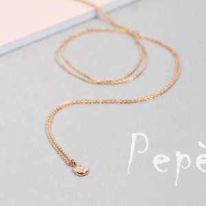Gold long thin chain necklaces with sliding irregular roundish nuggets _ no closure _ maschio gioielli milano