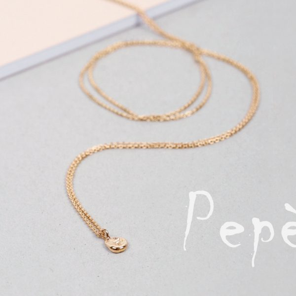 Gold long thin chain necklaces with sliding irregular roundish nuggets _ no closure _ maschio gioielli milano (2)