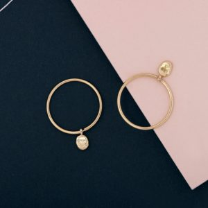 Yellow Gold thin circle hoop earrings with asymmetric nuggets _ maschio gioielli milano