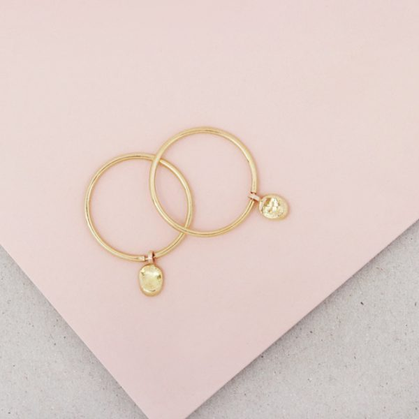 Yellow Gold thin circle hoop earrings with asymmetric nuggets _ maschio gioielli milano (2)