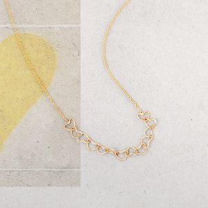 Yellow gold thin chain with hand-made little hearts _ maschio gioielli milano