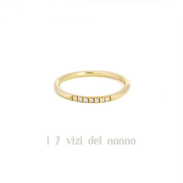 Yellow gold eternity ring with seven brilliant-cut diamonds _ maschio gioielli milano (2)