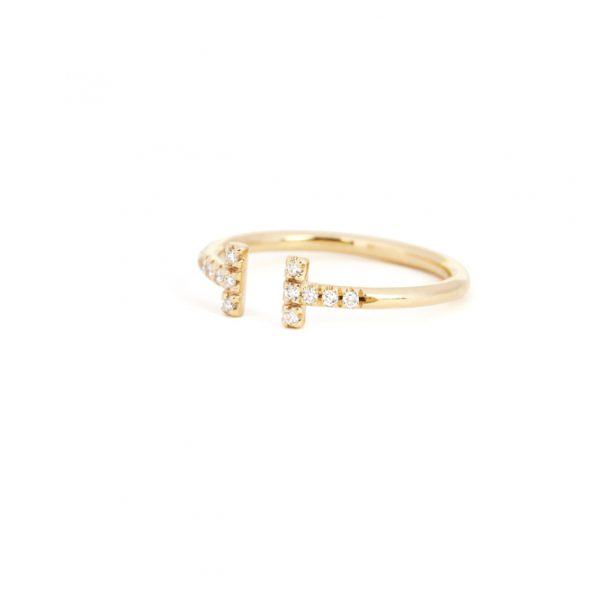 Yellow gold minimalist open t ring with white brilliant cut diamonds _ maschio gioielli milano (3)