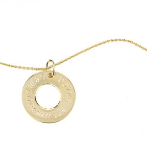 Yellow gold chain necklace with ring-shaped pendant to be customized _ maschio gioielli milano